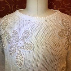 1980s ultimate white cotton & pearl super sweater